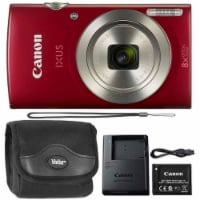 Canon Ixus 185 / Elph 180 20mp Digital Camera Red With Top Accessory Bundle - 1