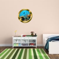 VWAQ Underwater Shool of Fish Gold Window Porthole Peel and Stick Vinyl Wall Decal - GP19 - 1