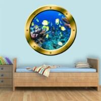 VWAQ Coral Reef Fish View Porthole Peel and Stick Vinyl Wall Decal - GP16 - 1
