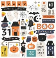 Hey, Pumpkin Chipboard Stickers 64/Pkg-W/Silver Glitter Accents - 1