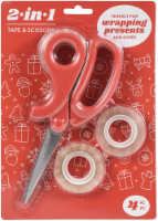AC Gift Wrap Essentials Scissors and Tape 2-in-1 4/Pkg-Christmas Icons - 1