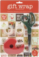 AC Gift Wrap Essentials Scissors And Tape Pack 5/Pkg-Christmas Grid - 1