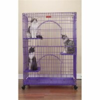 ProSelect 48 Inch Foldable Cat Cage with Dual Doors & Adjustable Perches, Black - 1 Piece