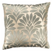 Gisela Contemporary Decorative Feather and Down Throw Pillow In Jade Jacquard Fabric - 1