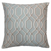 Frances Contemporary Decorative Feather and Down Throw Pillow In Sea Jacquard Fabric - 1