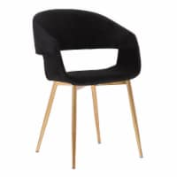 Jocelyn Mid-Century Grey Dining Accent Chair with Black Metal Legs - 1