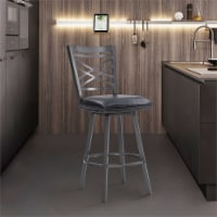 Fargo 26  Faux Leather Swivel Kitchen Barstool in Black and Mineral Finish - 1