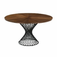 Cirque 54  Round Walnut Wood and Metal Pedestal Dining Table - 1
