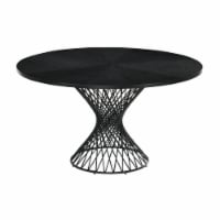 Cirque 54  Round Black Wood and Metal Pedestal Dining Table - 1