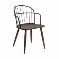 Bradley Steel Framed Side Chair in Black and Walnut Glazed Wood - 1