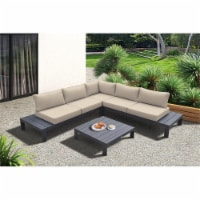 Razor Outdoor 4 piece Sectional set with Dark Frame and Taupe Cushions