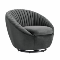 Bella Dark Gray Velvet Swivel Accent Chair with Black Base - 1