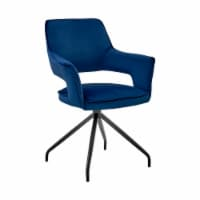 Hadley Dining Room Accent Chair in Blue Velvet with Black Finish - 1
