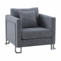 Heritage Gray Fabric Upholstered Accent Chair with Brushed Stainless Steel Legs - 1