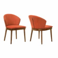 Juno Orange Fabric and Walnut Wood Dining Side Chairs - Set of 2 - 1