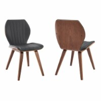 Ontario Gray Faux Leather and Walnut Wood Dining Chairs - Set of 2 - 1