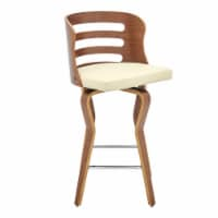 """Verne 26"""" Swivel Cream Faux Leather and Walnut Wood Bar Stool - 1"""