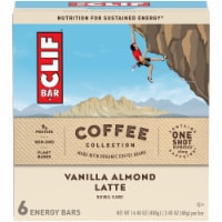 Clif Bar offee Collection Vanilla Almond Latte Energy Bars 6 Count