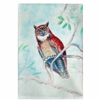 Betsy Drake GT732 Owl in Teal Guest Towel - 1