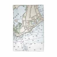 Betsy Drake KT13215B Block Island, RI Nautical Map Kitchen Towel - 1
