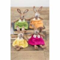 Set Of 4 Felt Rabbits-One Each Color 4.5  X 8 T - 1