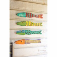 Set Of 4 Recycled Wood Folk Art Fish Each Is Approx. 22  X 3.5 T - 1