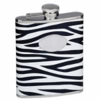 Zebra Black & White Leather Stainless Steel Liquor Flask - 6oz