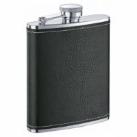 Eclipse S Black Leather Liquor Flask - 6 oz