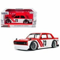 1 isto 24 1973 Datsun 510 Widebody No. 73 JDM Tuners Diecast Model Car, Red