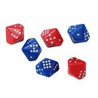 Subitizing Dice, 3 Red - 3 Blue - Set of 6