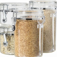 Clear Acrylic Canister with Spoon Set, 4 Piece