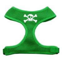 Skull Crossbones Screen Print Soft Mesh Harness Emerald Green Large - 1