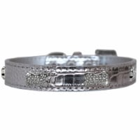 Croc Crystal Bone Dog Collar, Silver - Size 18