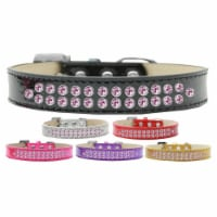 Two Row Light Pink Crystal Ice Cream Dog Collar, Gold - Size 16