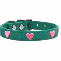 Pink Glitter Heart Widget Genuine Leather Dog Collar, Jade - Size18 - 1