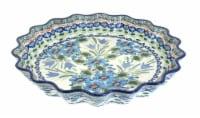 Blue Rose Polish Pottery Ballina Scallop Quiche Dish - 1