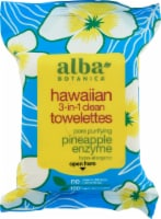 Alba Botanica Pineapple Enzyme Hawaiian 3-In-1 Clean Towellettes