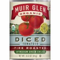 Muir Glen Organic Fire Roasted with Medium Green Chilies Diced Tomatoes