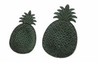 Green Verdigris Cast Iron Pineapple Decorative Trays Set of 2 - One Size