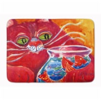 Big Red Cat at the fishbowl Machine Washable Memory Foam Mat - 1