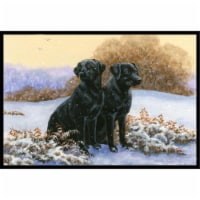 Black Labradors in the Snow Indoor or Outdoor Mat, 18 x 27