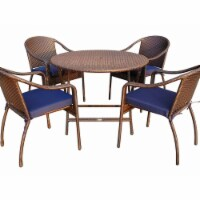 5 Piece Cafe Curved Back Chairs & Folding Wicker Table Dining Set, Blue Cushion