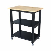 International Concepts WC10-185 Dining Essentials Microwave Cart - Black-Natural