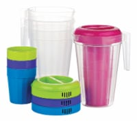 B and R Assorted Polyethylene Fluted Pitcher and Cup Set 1 pk - Case Of: 24; Each Pack Qty: - Case of: 24