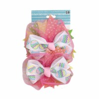 Easter Egg Hair Bows - Pink/White