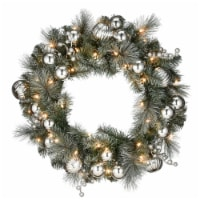 """24"""" Frosted Silver Pine Wreath with Battery Operated LED Lights - 1"""
