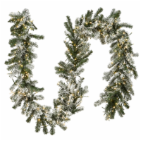9 ft. Snowy Sheffield Spruce Garland with Battery Operated LED Lights - 1