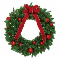 30in. Red Velvet Mixed Fir Wreath with Battery Operated Warm White LED Lights - 1