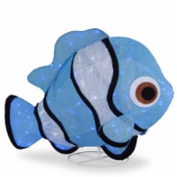 "38"" Tinsel Fabric Blue Fish with  120 Cool White LED Lights-UL-Indoor/Outdoor"