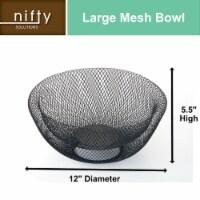 Nifty Small Black Decorative Mesh Bowl – Modern Metal Fruit Basket - Each